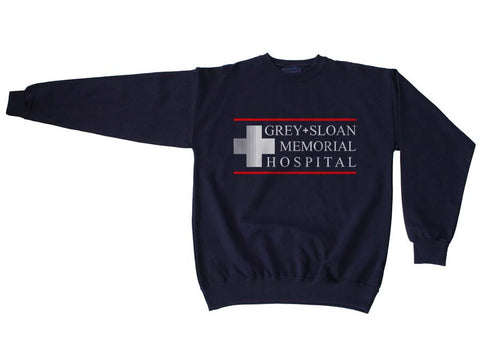 LOGO ONLY Grey + Sloan Memorial Hospital Grey's Anatomy Unisex Crewneck Sweatshirt - Meh. Geek - 1