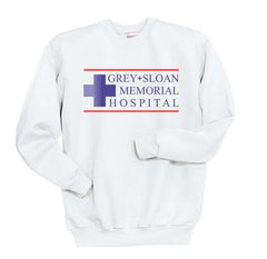 LOGO ONLY Grey + Sloan Memorial Hospital Grey's Anatomy Unisex Crewneck Sweatshirt - Meh. Geek - 2