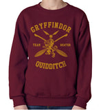 WEASLEY 06 - New Gryffindor BEATER Quidditch Team Unisex Crewneck Sweatshirt Maroon (Adult)