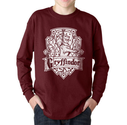 Gryffindor Crest #2 BW Kid / Youth Long Sleeves T-shirt tee PA Crest
