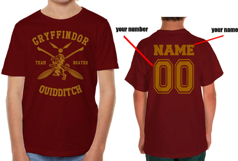 Customize - New Gryffindor BEATER Quidditch Team Kid / Youth T-shirt tee
