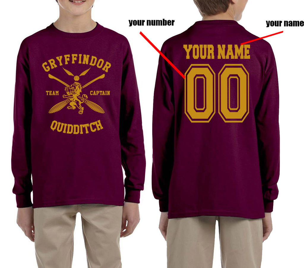 Customize - New Gryffindor CAPTAIN Quidditch Team Kid / Youth Long Sleeves T-shirt tee