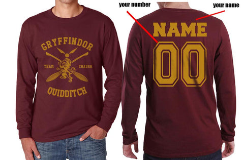 Customized - New Gryffindor CHASER Quidditch Team Long Sleeve T-shirt for Men