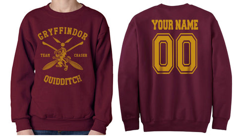 Customize - New Gryffindor CHASER Quidditch Team Unisex Crewneck Sweatshirt Maroon (Adult)