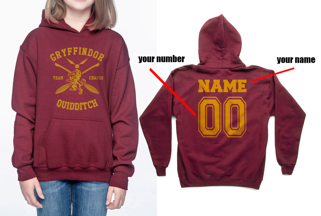 Customize - New Gryffindor CHASER Quidditch Team Kid / Youth Hoodie Maroon