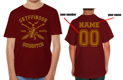 Customize - New Gryffindor KEEPER Quidditch Team Kid / Youth T-shirt tee