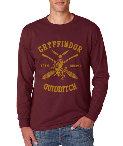 Gryffindor KEEPER Quidditch Team Long Sleeve T-shirt for Men PA New