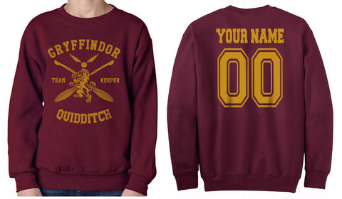 Customize - New Gryffindor KEEPER Quidditch Team Unisex Crewneck Sweatshirt Maroon (Adult)