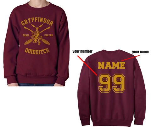 CUSTOMIZE Gryffindor KEEPER Quidditch Sweater