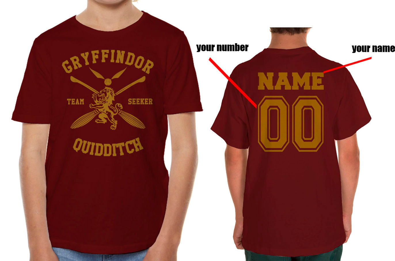 7c9fab3a9 Customize - New Gryffindor SEEKER Quidditch Team Kid / Youth T-shirt t –  Meh. Geek