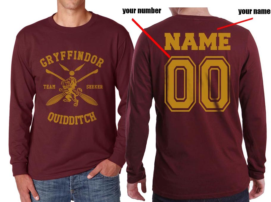 Customized - New Gryffindor SEEKER Quidditch Team Long Sleeve T-shirt for Men