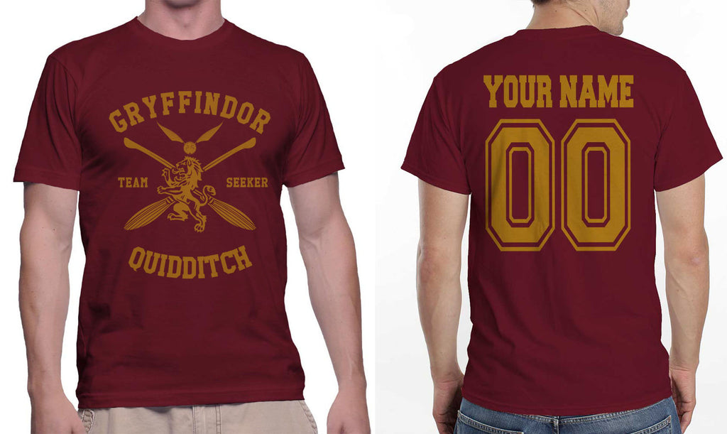 Custom Gryffindor Quidditch Team SEEKER  Men T-shirt tee