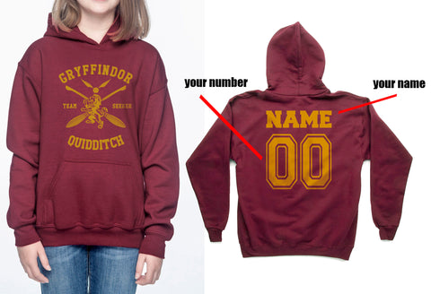 Customize - New Gryffindor SEEKER Quidditch Team Kid / Youth Hoodie Maroon