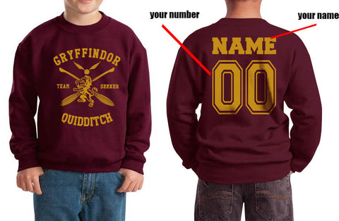 Customize - New Gryffindor SEEKER Quidditch Team Kid / Youth Crewneck Sweatshirt Maroon