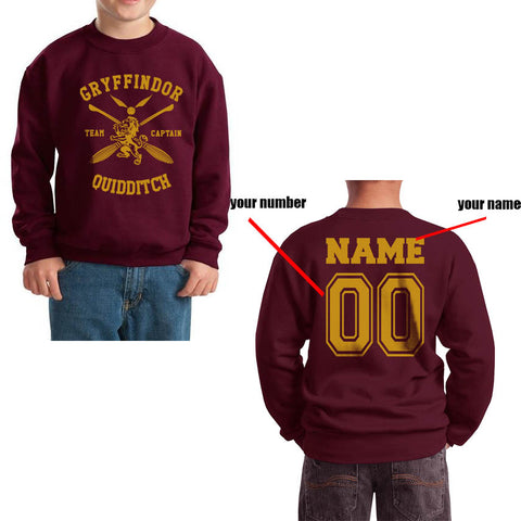 Customize - New Gryffindor CAPTAIN Quidditch Team Kid / Youth Crewneck Sweatshirt Maroon