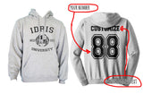 Idris UniversIty Custom Back Name and Number Unisex Pullover Hoodie Light Steel / HEATHER GREY - Meh. Geek - 1