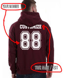 Idris University Custom Back Name and Number Unisex Pullover Hoodie MAROON - Meh. Geek - 2