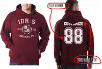 Idris University Custom Back Name and Number Unisex Pullover Hoodie MAROON - Meh. Geek - 1