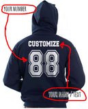 Idris University Custom Back Name and Number Unisex Pullover Hoodie NAVY - Meh. Geek - 3