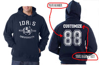 Idris University Custom Back Name and Number Unisex Pullover Hoodie NAVY - Meh. Geek - 1
