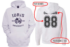 Idris University Custom Back Name and Number Unisex Pullover Hoodie WHITE - Meh. Geek - 1