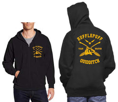 Hufflepuff BEATER Quidditch Team Front and back Unisex Zip Up Hoodie PA New