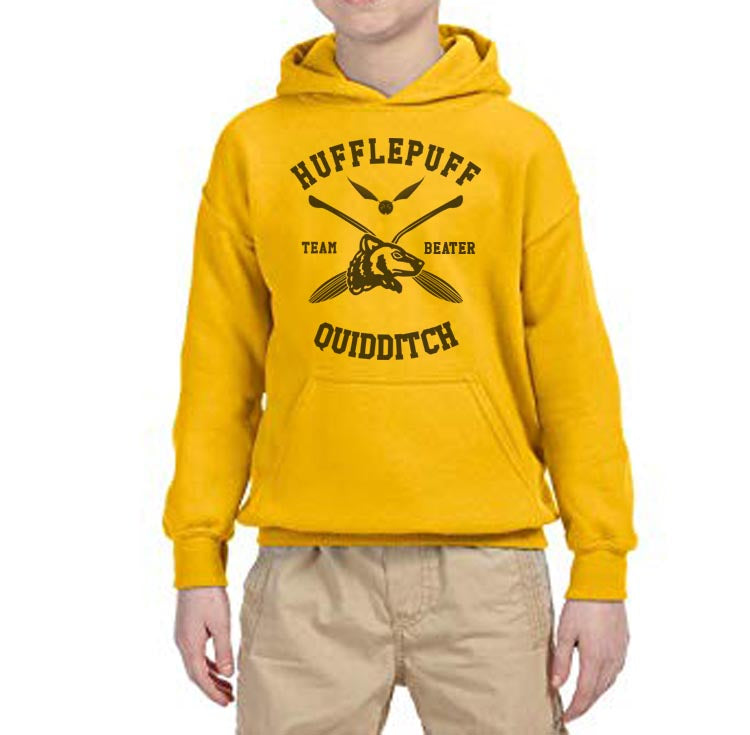 Hufflepuff BEATER Quidditch Team Kid / Youth Hoodie Gold PA New