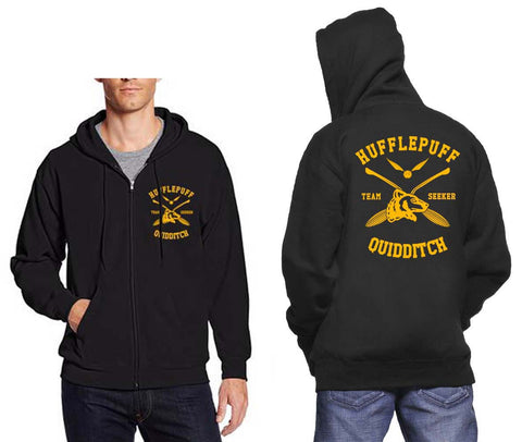 Hufflepuff SEEKER Quidditch Team Front and back Unisex Zip Up Hoodie PA New