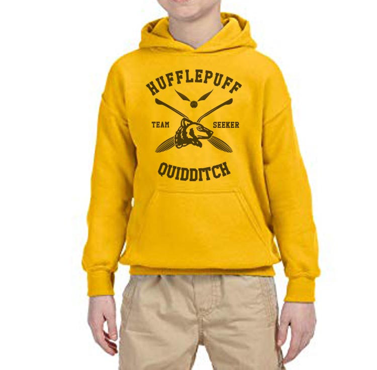 Hufflepuff SEEKER Quidditch Team Kid / Youth Hoodie Gold PA New