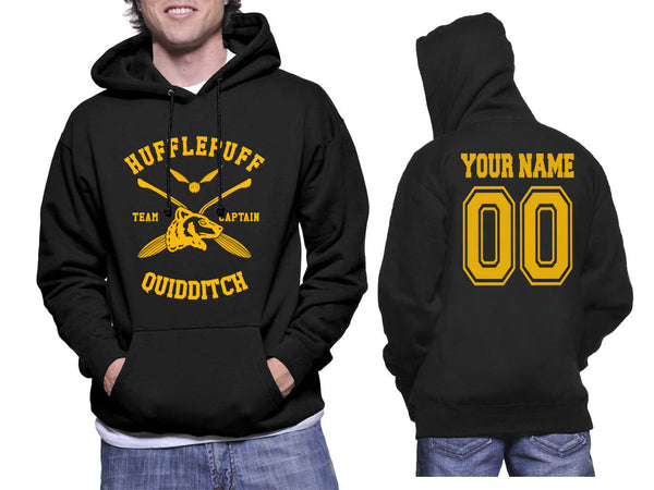 Customize - New Hufflepuff CAPTAIN Quidditch Team Unisex Pullover Hoodie Black