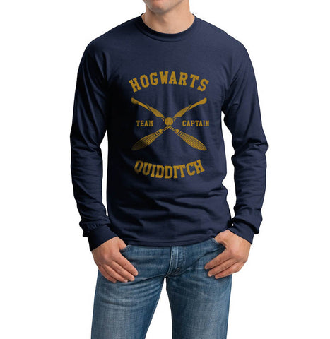 Hogwarts CAPTAIN quidditch team Yellow ink Long Sleeve T-shirt for Men PA New
