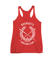 Hogwarts Dueling Club Bw Ink Triblend Racerback Women Tank Top