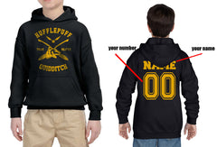Customize - New Hufflepuff BEATER Quidditch Yellow Team Kid / Youth Hoodie Black