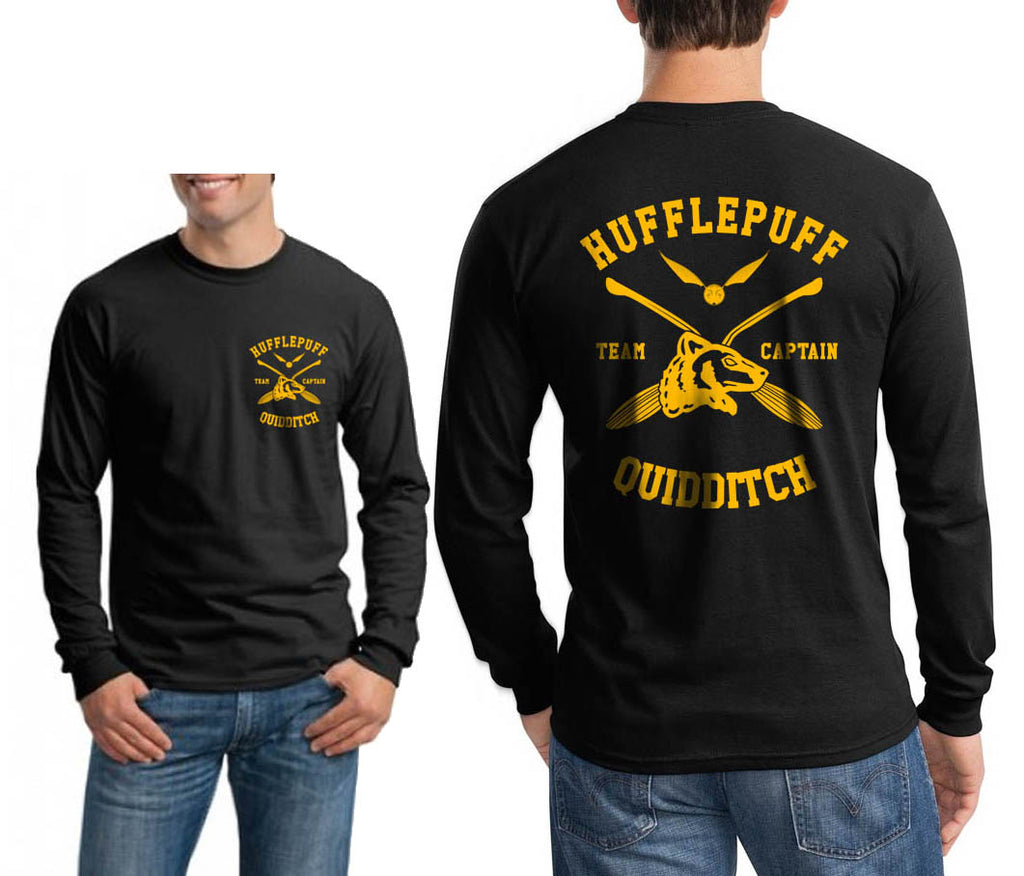 Hufflepuff CAPTAIN Quidditch Team Front Back Long Sleeve T-shirt for Men PA New