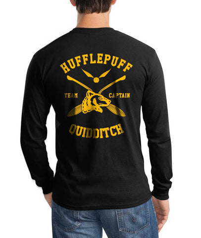Hufflepuff CAPTAIN Quidditch Team Back only Long Sleeve T-shirt for Men PA New