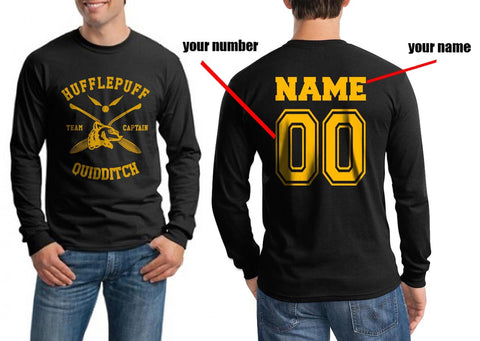 Customized - New Hufflepuff CAPTAIN Quidditch Team Long Sleeve T-shirt for Men