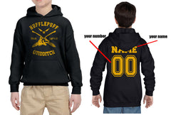 Customize - New Hufflepuff CAPTAIN Quidditch Yellow Team Kid / Youth Hoodie Black