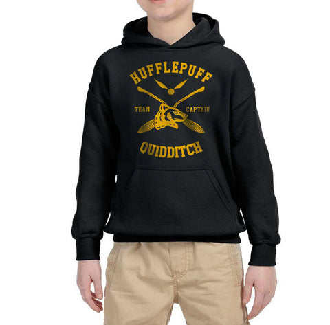 Hufflepuff CAPTAIN Quidditch Team Kid / Youth Hoodie Black PA New