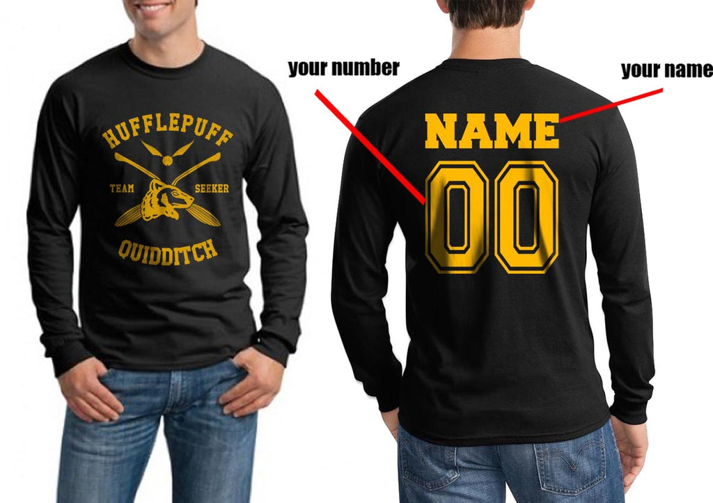 Customized - New Hufflepuff SEEKER Quidditch Team Long Sleeve T-shirt for Men