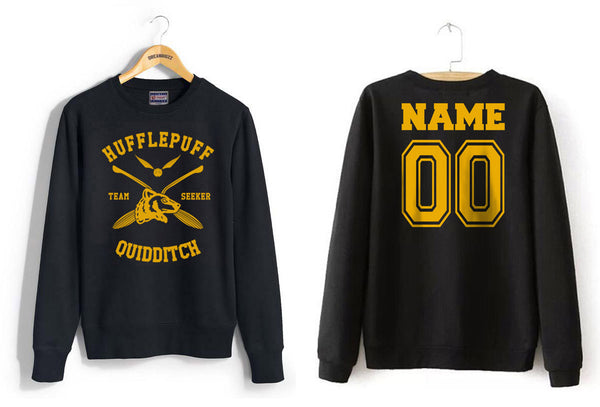 Customize - New Hufflepuff SEEKER Quidditch Team Unisex Crewneck Sweatshirt (Adult)