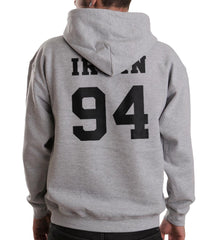 Irwin 94 Black Ink on BACK Ashton Irwin Unisex Pullover Hoodie - Meh. Geek