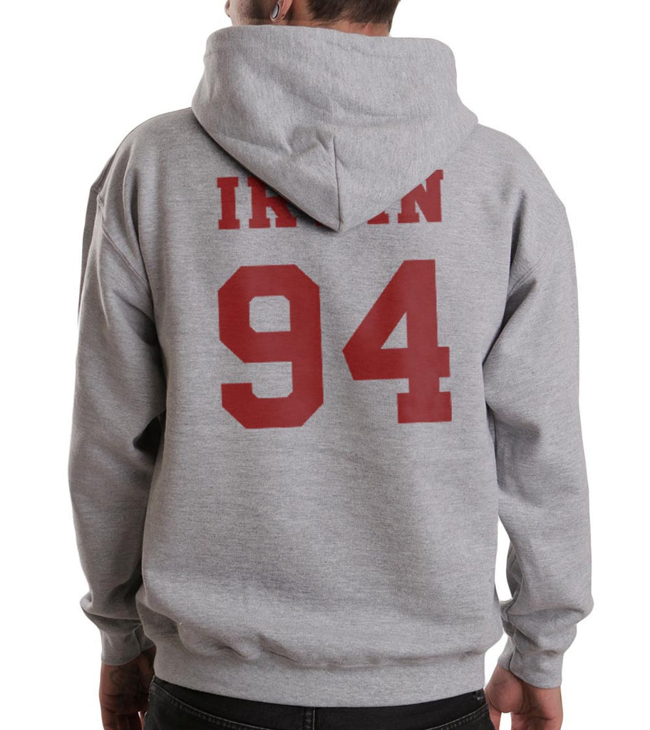 Irwin 94 Maroon Ink on BACK Ashton Irwin Unisex Pullover Hoodie - Meh. Geek