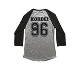 Kordei 96 on back, Fifth harmony pocket logo Unisex 3/4 Raglan Tee Sport Grey-Black