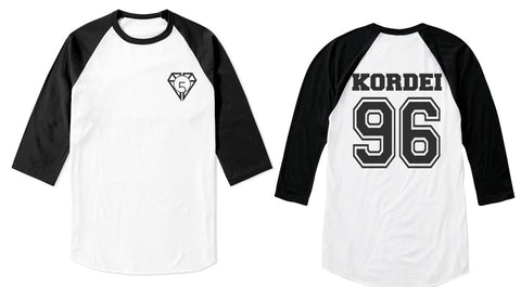 Kordei 96 on back, Fifth harmony pocket logo Unisex 3/4 Raglan Tee White-Black