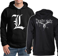 L Death Note Light Shinigami Ryuk Back Unisex Pullover Hoodie - Meh. Geek