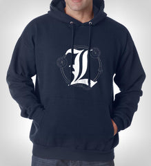 L Death Note Scared Ryuk Light Shinigami Unisex Pullover Hoodie - Meh. Geek
