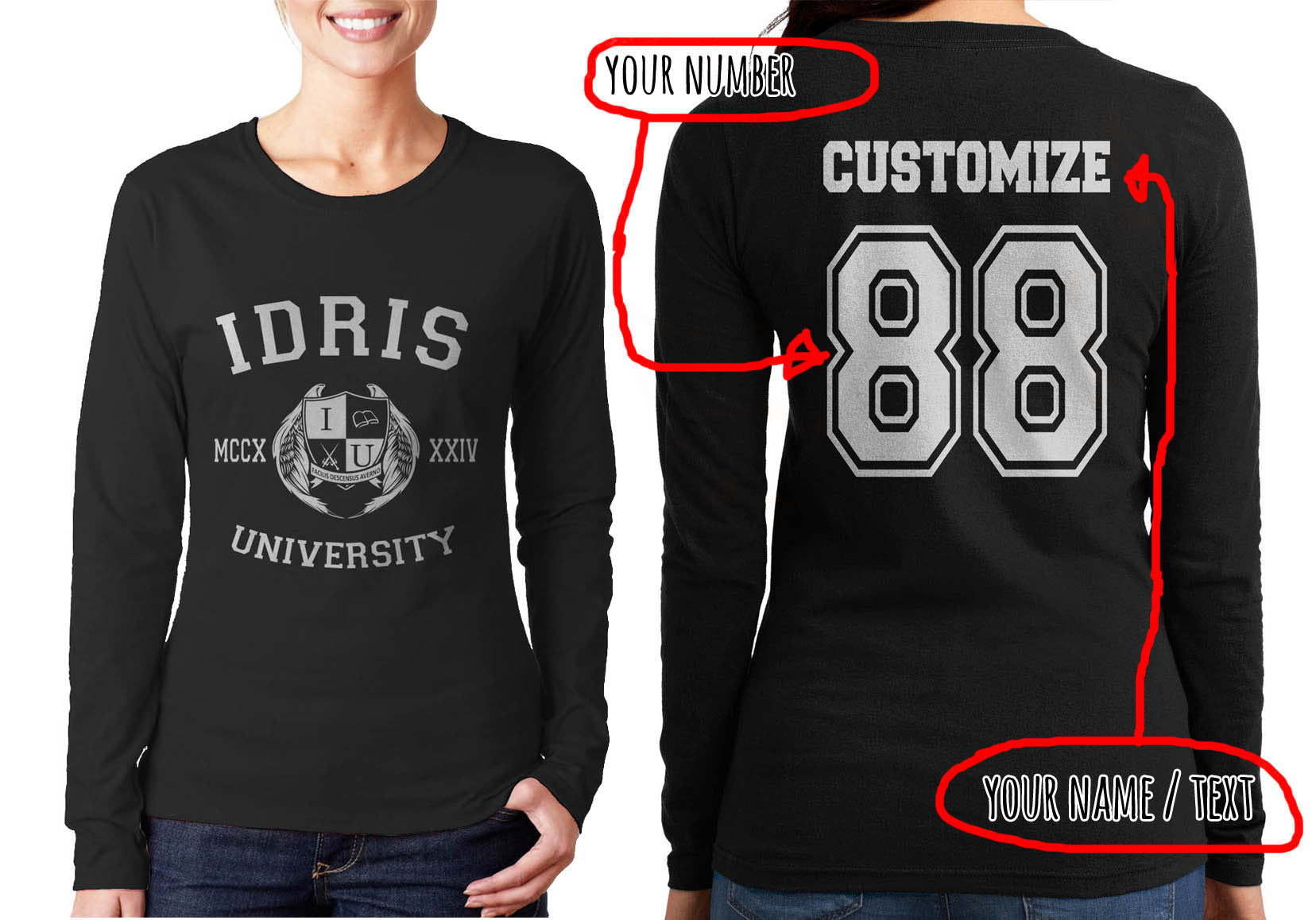 Idris University Custom Back Name And Number Long Sleeve T Shirt For