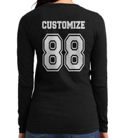 Idris University Custom Back Name and Number Long sleeve T-shirt for Women BLACK