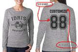 Idris University Custom Back Name and Number Long sleeve T-shirt for Women HEATHER GREY