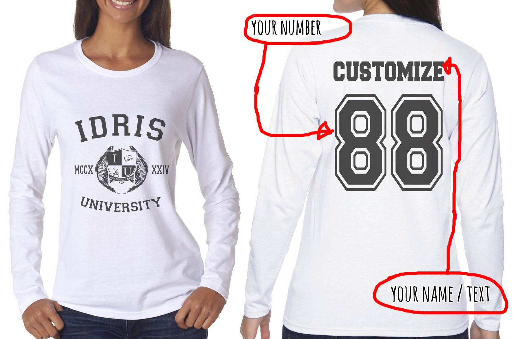 8a163fe79 Idris University Custom Back Name and Number Long sleeve T-shirt for W –  Meh. Geek